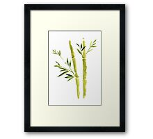 Green Bamboo Painting Watercolor Illustration Abstract Japanese Poster Framed Print