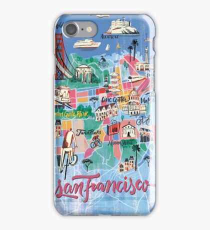 San Francisco illustrated Map iPhone Case/Skin