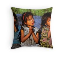 Nepali girls, Annapurna region. Throw Pillow