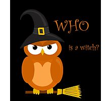 Halloween orange witch owl Photographic Print