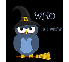 Halloween blue witch owl Photographic Print