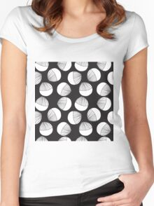 Black and white floral shapes pattern. Women's Fitted Scoop T-Shirt
