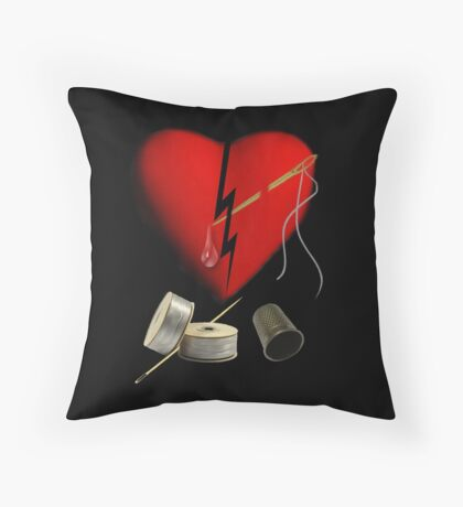 SILVER THREADS AND GOLDEN NEEDLES CANNOT MEND THIS HEART OF MINE - PILLOW - & TOTE BAG Throw Pillow