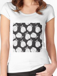 Black and white poppies pattern Women's Fitted Scoop T-Shirt