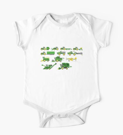 Farm Vehicles - The Kids' Picture Show - Pixel Art One Piece - Short Sleeve