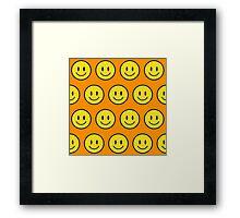 Happy Face fashion texture pattern emoji Framed Print