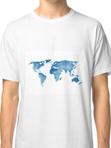 World Map Watercolor Painting Illustration Image Poster Drawing Classic T-Shirt