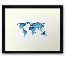 World Map Watercolor Painting Illustration Image Poster Drawing Framed Print