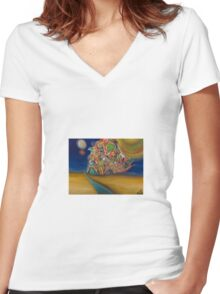 night sky Women's Fitted V-Neck T-Shirt