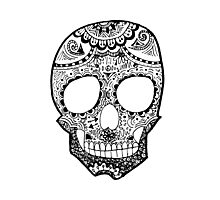 Zentangle Hipster Skull Photographic Print
