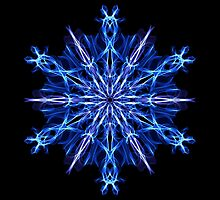 Energetic Geometry -  Ice Blue Snowflake Mandala by Leah McNeir