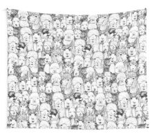 just alpacas black white Wall Tapestry