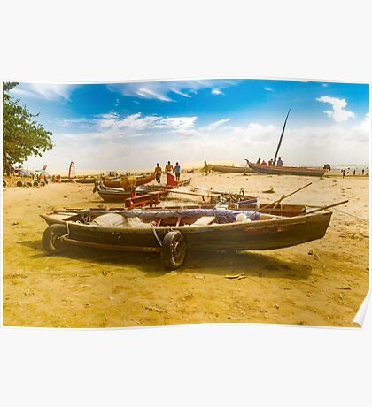 Boats at Sand at Beach of Jericoacoara Brazil Poster