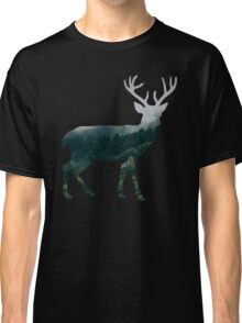 Buck Deer with Misty Evergreen Forest Woods Silhouette - Spirit of the Wild .  Classic T-Shirt