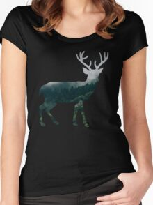 Buck Deer with Misty Evergreen Forest Woods Silhouette - Spirit of the Wild .  Women's Fitted Scoop T-Shirt
