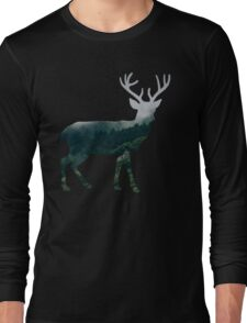 Buck Deer with Misty Evergreen Forest Woods Silhouette - Spirit of the Wild .  Long Sleeve T-Shirt