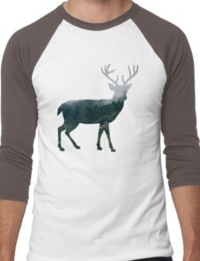 Buck Deer with Misty Evergreen Forest Woods Silhouette - Spirit of the Wild .  Men's Baseball ¾ T-Shirt