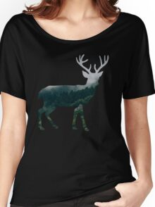 Buck Deer with Misty Evergreen Forest Woods Silhouette - Spirit of the Wild .  Women's Relaxed Fit T-Shirt