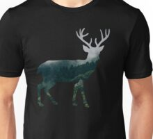 Buck Deer with Misty Evergreen Forest Woods Silhouette - Spirit of the Wild .  Unisex T-Shirt