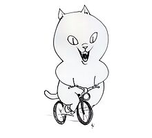 Cat on a Bicycle - Black & White Photographic Print