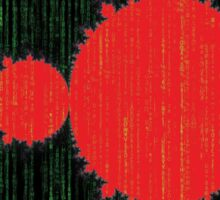Mandelbrot Set Matrix Code (Red Black) Sticker