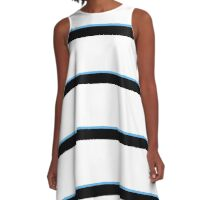 White and Black with a Touch of Blue A-Line Dress