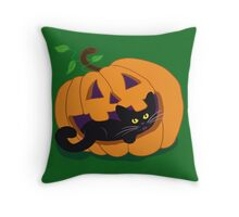 Pumpkin Kitty Throw Pillow