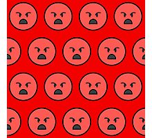 Sad emoji face on red background Photographic Print