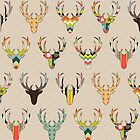 retro deer head linen (card) by Sharon Turner