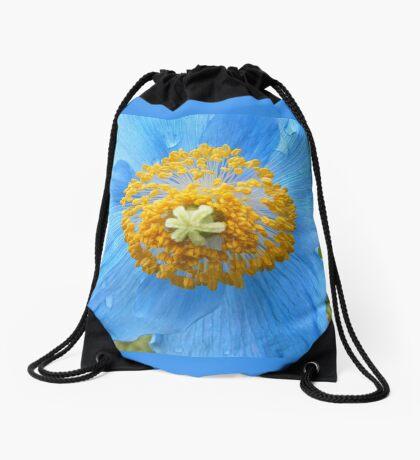 BLUE POPPY FLOWER PETALS Drawstring Bag