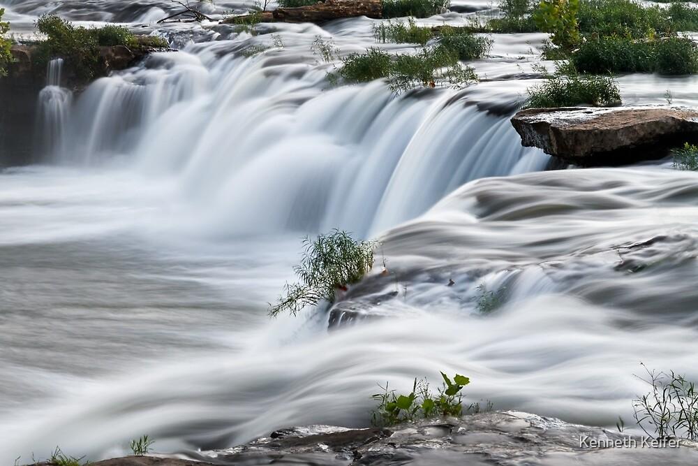 Cascading West Virginia Waterfall by Kenneth Keifer