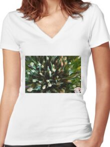 COLORFUL SPREAD OF TULIPS Women's Fitted V-Neck T-Shirt