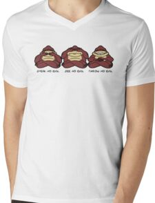 Throw No Evil Monkeys Mens V-Neck T-Shirt