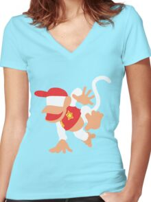 Diddy Kong Vector Women's Fitted V-Neck T-Shirt