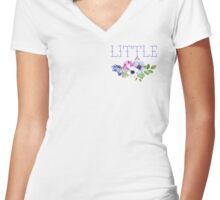 Big/Little/GBig Purple Floral Women's Fitted V-Neck T-Shirt
