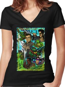 Teenage Mutant Ninja Turtles/Ghostbusters Women's Fitted V-Neck T-Shirt