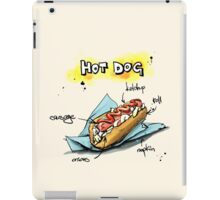 Classic Hot Dog Illustration with Ingredients iPad Case/Skin
