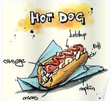 Classic Hot Dog Illustration with Ingredients Poster