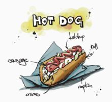 Classic Hot Dog Illustration with Ingredients by texasaggie
