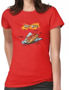Classic Hot Dog Illustration with Ingredients Womens Fitted T-Shirt