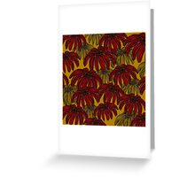 Red Flowers on Mustard Greeting Card