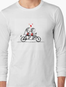 Couple cycling together, valentine sketch for your design Long Sleeve T-Shirt