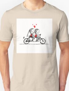 Couple cycling together, valentine sketch for your design T-Shirt