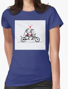 Couple cycling together, valentine sketch for your design Womens Fitted T-Shirt