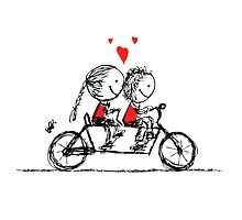 Couple cycling together, valentine sketch for your design by Kudryashka
