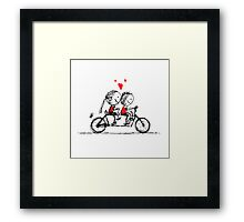 Couple cycling together, valentine sketch for your design Framed Print