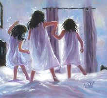 THREE SISTERS JUMPING ON THE BED by VickieWade