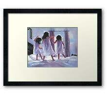 THREE SISTERS JUMPING ON THE BED Framed Print