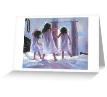 THREE SISTERS JUMPING ON THE BED Greeting Card