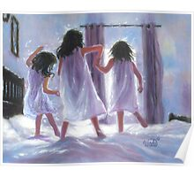 THREE SISTERS JUMPING ON THE BED Poster